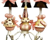 Nursery Chandelier, Pink and Brown Whimsical Dancing Hippos