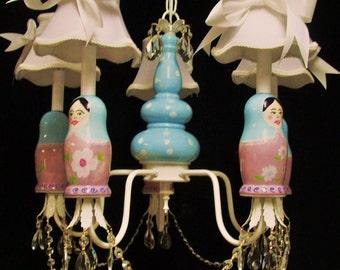 Matryoshka Russian Doll Chandelier, Kid's Room Lighting, Children's Ceiling Fixture