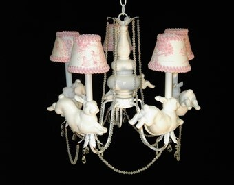 Nursery Chandelier - Leaping Bunny Rabbits - Children's Lighting