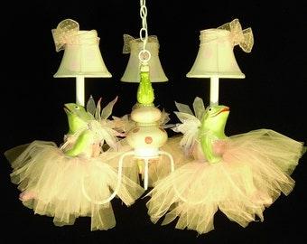 Nursery Lighting - Ballerina Frog Chandelier - Girls Room Chandelier