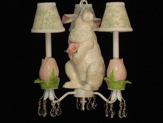 Children's Chandelier - Bunny Chandelier  - Kid's Lighting - Nursery Ceiling Fixture