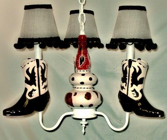 Western Cowboy Boots Nursery Chandelier By