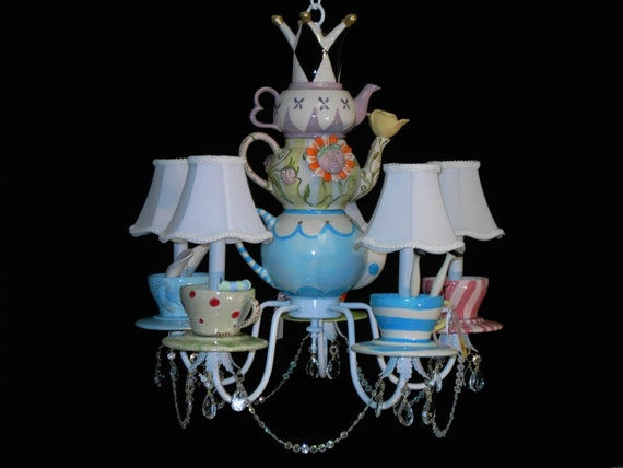 Whimsical Alice In Wonderland Tea Party Chandelier