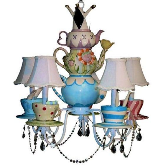 Alice In Wonderland Chandelier - Mad Hatter - Tea Party Decor - Whimsical Lighting