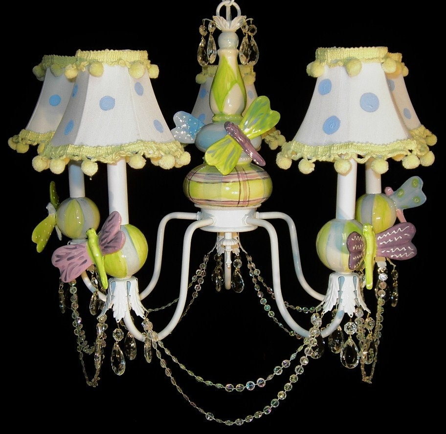 Dragonfly nursery chandelier child light kid 39 s for Nursery ceiling light fixture