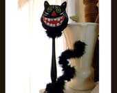 Black Cat Kitty on a Stick Halloween Samhain Decoration