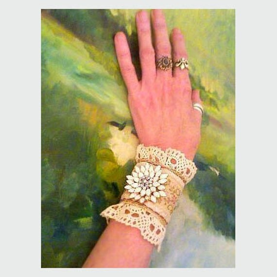 ON RESERVE For Gypsy Junkie Victorian styled brocade wrist cuff with Vintage White Rhinestones, lace