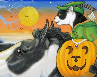 ACEO Halloween Cat Horse Fine Art Print The Great Pumpkin Race