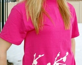 Limited- Cherry Blossoms Distressed Cracked Womens Relaxed Fit T-Shirt in Hot Pink
