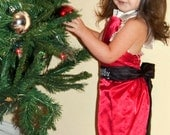 Christmas Boutique --Santa Baby Ruffle HalterAll  with Cream Satin Peasant top girls sizes 6m, 1y-6