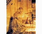 ACEO - Rome at Night, double exposure photo plus 5 x 7 mat