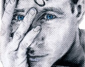Old Blue Eyes, ACEO print of original charcoal drawing plus 5 x 7 mat