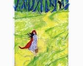 ACEO Red Riding Hood & wolf print of original mixed media artwork plus 5 x 7 mat