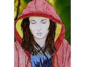 Rain - ACEO-  mix of original drawing and photograph plus 5 x 7 mat