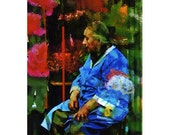 marché aux fleurs II ACEO - Paris flower market photograph, roses and shop keeper
