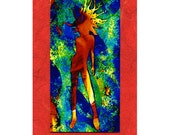 A Woman Scorned  ACEO colorful print mounted onto red fibrous paper plus 5 x 7 mat