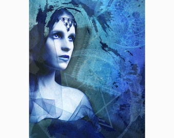 "Blue alchemy - original digital art - sorcery & magic - with 11"" x 14"" white mat"