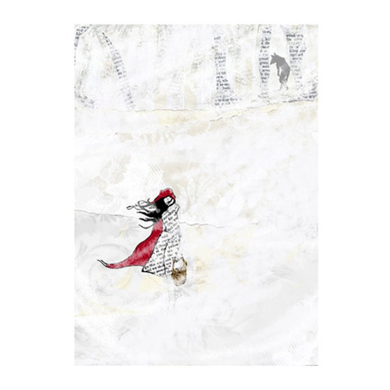 ACEO Red's winter walk - Red riding hood, wolf & snow print of original art