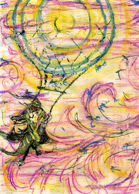 A Blustery Day, Original watercolor mixed media painting, woman and balloon riding the wind