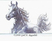Galloping Horse WATERCOLOR From Original ART BOOKMARK by GHR