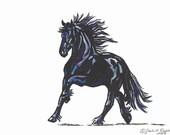 Friesian Horse Cantering Watercolor Original 5 x 7