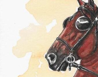 ACEO Hackney Cobtail Pony Original Watercolor & India Ink