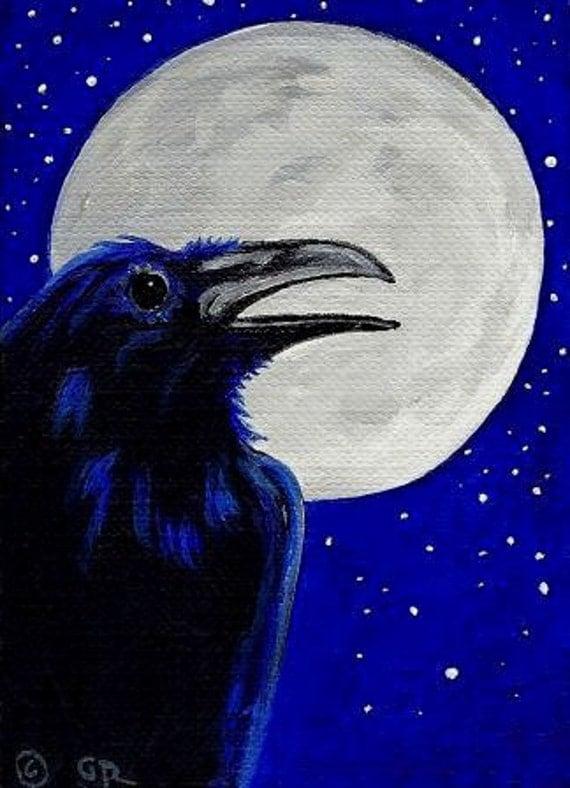 Star Raven With Full Moon Original ACEO Acrylic Painting Miniature Art Crow Corvid Black Bird
