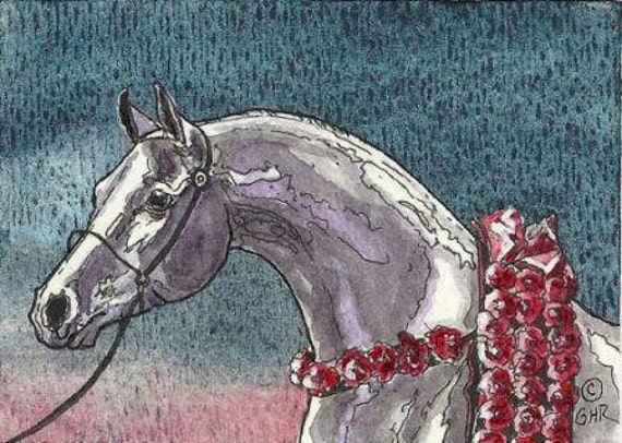 ACEO Arabian Horse Original Watercolor Painting by Gail Ragsdale