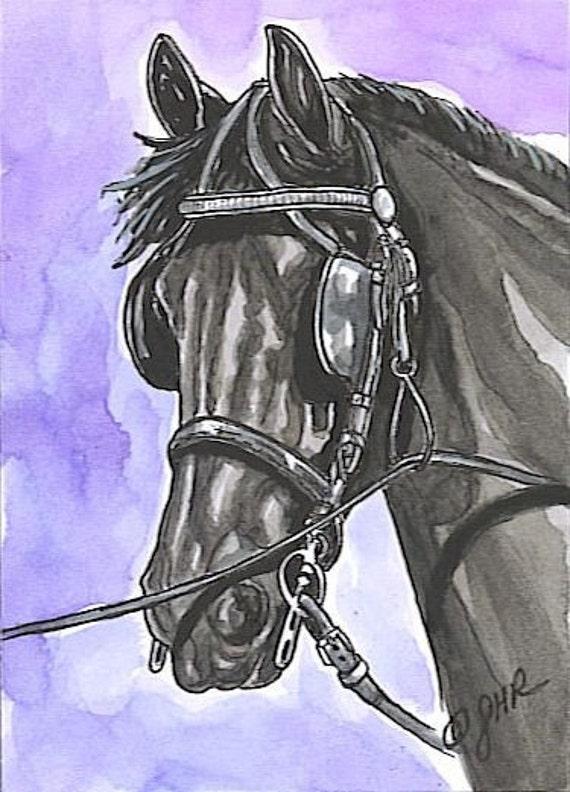 ACEO Friesian Horse Ltd Ed. Print Art Card by Gail Ragsdale