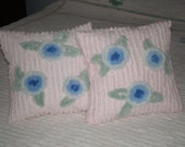 Set of Two Soft and Cuddly Pink Chenille Pillows with Blue Flowers - 12 X 12 - Inserts Included