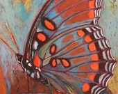 Red Spotted Purple Butterfly - Original Arcylic and Pastel Artwork - Mat included - collectible fine art - Ready to frame