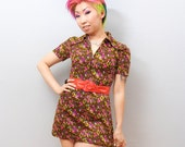 Vintage Mini Russet Brown Neon Yellow Dress - Hot Pink Floral