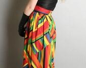 Vintage Maxi Skirt Rainbow Abstract Angle Geometric Long