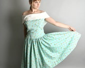 Sally Sells Seashells - Vintage 1950s Beach Dress - XL or Large