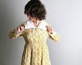 Adorable 2-piece Vintage 1970s Floral Saffron Maxi Dress and Coat by Cheri Lynn Jr