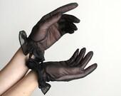 Black Vintage Sheer Swirled Stitch Ruffle Gloves