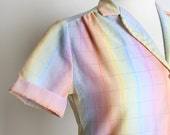 Vintage 1980s Plaid Blouse - Adorable Pastel Rainbow Subtle Shimmer - Small
