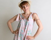 Vintage Floral Romper - Pastel Pink Shorts - Small to Medium Spring Fashion