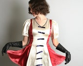 Vintage Majorette Top Marching Band Cherry Red and White Vintage Top Parade Costume