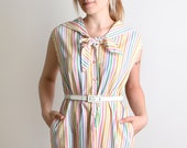Vintage Rainbow Dress - Bright Pin Striped Tunic - Large XL Spring Summer Vacation