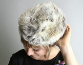 Vintage Faux Fur Hat - Marbled Ski Bunny - Small White