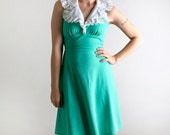 RESERVED - Vintage 1970s Mini Dress in Jade Green - Halter Style - Small Spring Summer Fashion