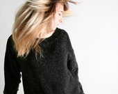 Vintage 1980s Slouchy Sweater with Copper Metallic Threads - Large
