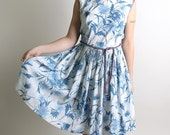 1960s Floral Dress Vintage Sky Blue Pleated Day Style Sleeveless Medium