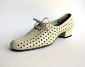 Avant Garde Nerd Shoes Weird and Unique Vintage Polka Dotted Hole - Sporty Style - Narrow Size US 7