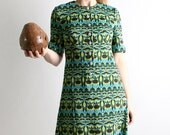1960s Spring Dress - Wild Coconut Tropical Vacation Style Maxi Dress - Medium Empire Waist