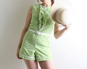 Vintage Gingham Romper - Lime Green and White Spring Fashion - Small to Medium