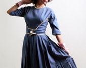 Vintage Wool Dress - Early 1960s Cornflower Blue Day Dress - Small