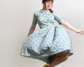 RESERVED - 1950s Dress in Floral - Vintage Teal Blue and Mint Green Flower Print Day Dress with Peter Pan Collar - Medium