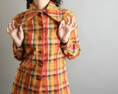 Vintage Plaid Blouse - Tangerine Mustard Blouse Saffron Yellow Farmer Farm Western Honey